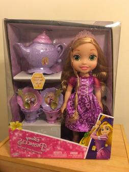 Disney princess rapunzel with tea set in royal gown ages 3+