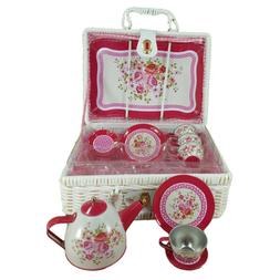 Delton Products Tin 15 Pieces Tea Set in Basket Serveware Pe
