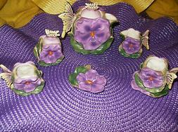 PURPLE PANSY DECORATIVE TEA SET 9 PC deluxe NEW IN BOX PORCE