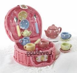 Quality China Polka Dots Tea Set 17pc Pink Basket for Americ