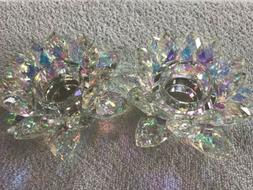 Oleg Cassini Rainbow Iridescent Crystal Lotus Tea Light Cand