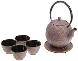 Happy Sales Raspberry Gold Color Cast Iron Tea set