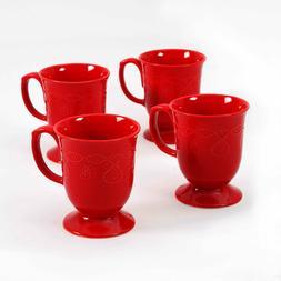 Red Coffee Set Tea Cappuccino Cups Mugs 4 Piece Round Glaze
