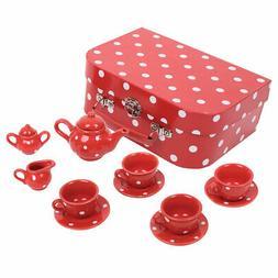 Bigjigs Toys Red Polka Dot Porcelain Tea Set Pretend Role Pl