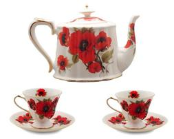 Gracie China Red Poppy Porcelain 3-Piece Tea Time Set with G