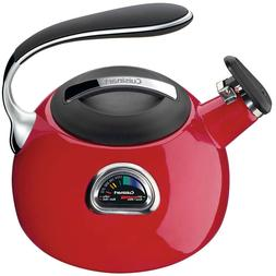 Red Porcelain Enamel 7-Cup Electric Tea Maker Kettle with Te