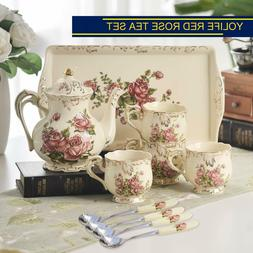 Red Rose Ivory Ceramic Tea Set,Vintage Tea Set With Teapot