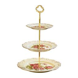 YOLIFE Red Rose Pattern 3 Tiered CupCake Stand, Emboss Golde