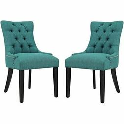 Modway Regent Fabric Upholstered Dining Side Chair in Teal