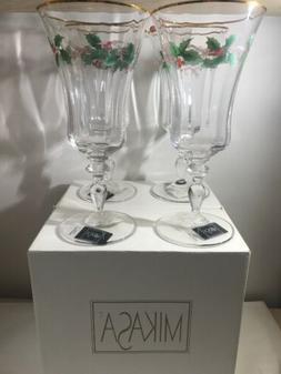 Mikasa RIBBON HOLLY Iced Tea Wine Beverage Glasses Set Of 4
