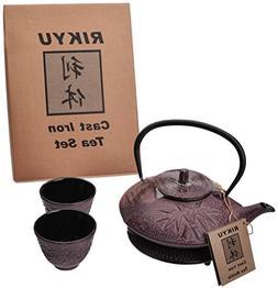 RIKYU RKTS706WR Cast Iron Bamboo Tea Set with Trivet, 18 Oun