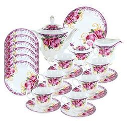 Ringlet of Roses Deluxe Porcelain Tea Set
