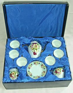 SORELLE ROMANTIC ROSE FINE PORCELAIN 17 PIECE TEA SET GOLD A