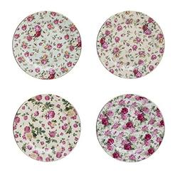 Gracie China Rose Chintz Porcelain 8-Inch Dessert Plate Set