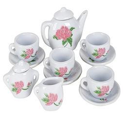 ArtCreativity Rose Flower Ceramic Doll Tea Set  | Includes C