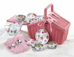 "Delton Products Rose Tin Tea Set In Basket , 4"""