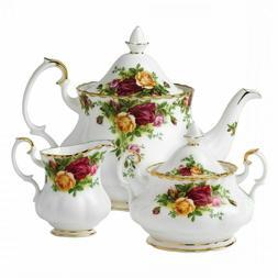 Royal Albert Old Country Roses 3-Piece Tea Set. Tea Pot, sug
