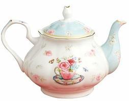 Jusalpha Royal Floral Fine Bone China Rose Vintage Teapot