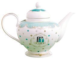 Jusalpha Royal Vintage Blue Dot Fine Bone China Teapot