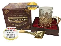 BEST RUSSIAN TEA CUP with Podstakannik Glass Holder and Gold