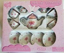 Schylling Butterfly Porcelain Tea Set with Fun Express Polye