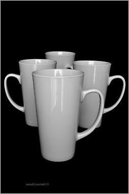 Set 4 Tall French-Style Classic White Porcelain 14oz Tea Cof