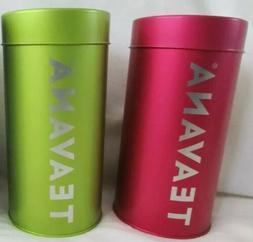 Set Of 2~Teavana 8 oz Tea Tin Cannister Shiny Metal Pink Fuc