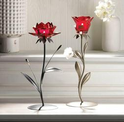 Set of 2 Crystal Red Rose Tea Light Candle Holders Metal Sta