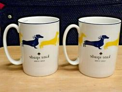 SET OF 2 LENOX KATE SPADE WICKFORD YELLOW DACHSHUND COFFEE/T