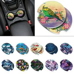 Set of 2 Marble Round Ceramic Car Coaster For Drinks Coffee