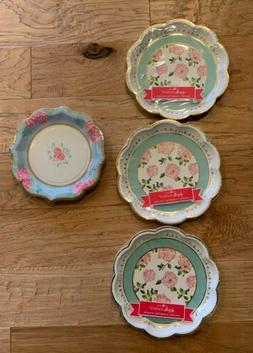 Set of 24 + 8 Extra Floral Tea Time Whimsy Paper Plates Brid