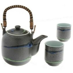SET of 3 Japanese Tea Pot Cups Set Daisetsuzan Stream Gift B