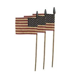 """Set of 3 ~ Patriotic American Tea Stained Flag on 14"""" Stick"""