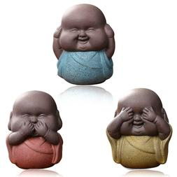 Set of 3 Speak Hear See NO Evil Buddha Monk Statues Pottery
