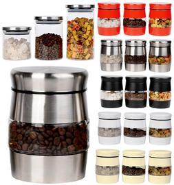 Set Of 3 Tea Coffee Sugar Jar Kitchen Canister Window Glass