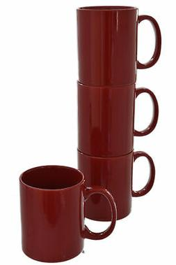 Set of 4 Glossy Deep Red Stoneware Tea Cups Coffee Mugs