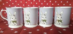 Set of 4 Grace's Easter Rabbit Bunny Coffee Mugs Tea Cups Hi