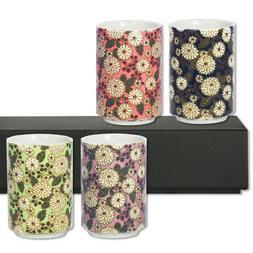 "SET of 4 Japanese 3.25""H Porcelain Tea Sushi Cup Set Chrysan"
