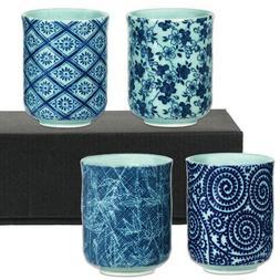 "Set of 4 Japanese 3.25""H Porcelain Tea Sushi Cup Set Karkaus"