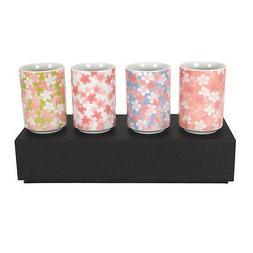 """SET of 4 Japanese 3-3/8""""H Tea Sushi Cup Set Sakura Cherry Bl"""