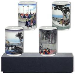 """SET of 4 Japanese 4""""H Ceramic Sushi Tea Cup Gift Set Tokaido"""