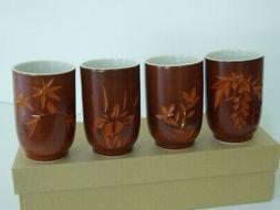 "Set of 4 Japanese 4""H Tea Cups Yunomi Ceramic Four Season/ M"