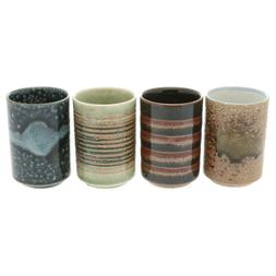 SET of 4 Japanese Porcelain Sushi Tea Cup Yunomi Mino Yakiso
