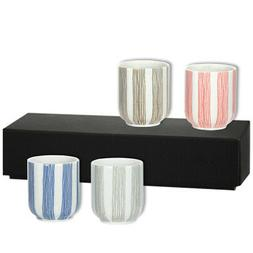 "Set of 4 Pieces Japanese 3""H Sushi Tea Cups Gift Boxed Tokus"