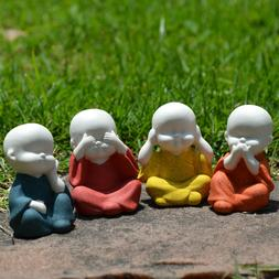 Set of 4 Speak Hear See Think NO Evil Buddha Monk Statues Po