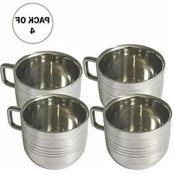 "IndiaBigShop Set Of 4 Stainless Steel Tea "" Coffee Cups, Dri"