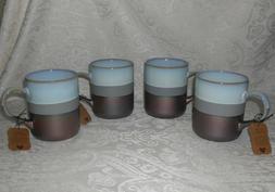 set of 4 stoneware pottery tea coffee