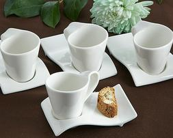 Set of 4 Swish Espresso and Cup Biscotti Set Coffee Tea Plat