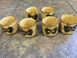 Set of 6 ASAHI Japan ASIAN TEA CUPS Vintage Butterflies Porc