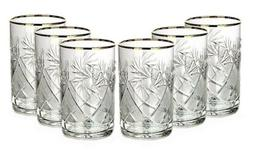 SET of 6 Russian Crystal Hot/Cold Tea Glass for Podstakannik